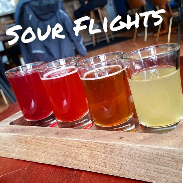 Here's to a funky weekend! Sour flights are available at Upland locations! Styles include: VinoSynth White, VinoSynth Red, Blackberry, and Blueberry. #regram @michaelamaddox #uplandsours